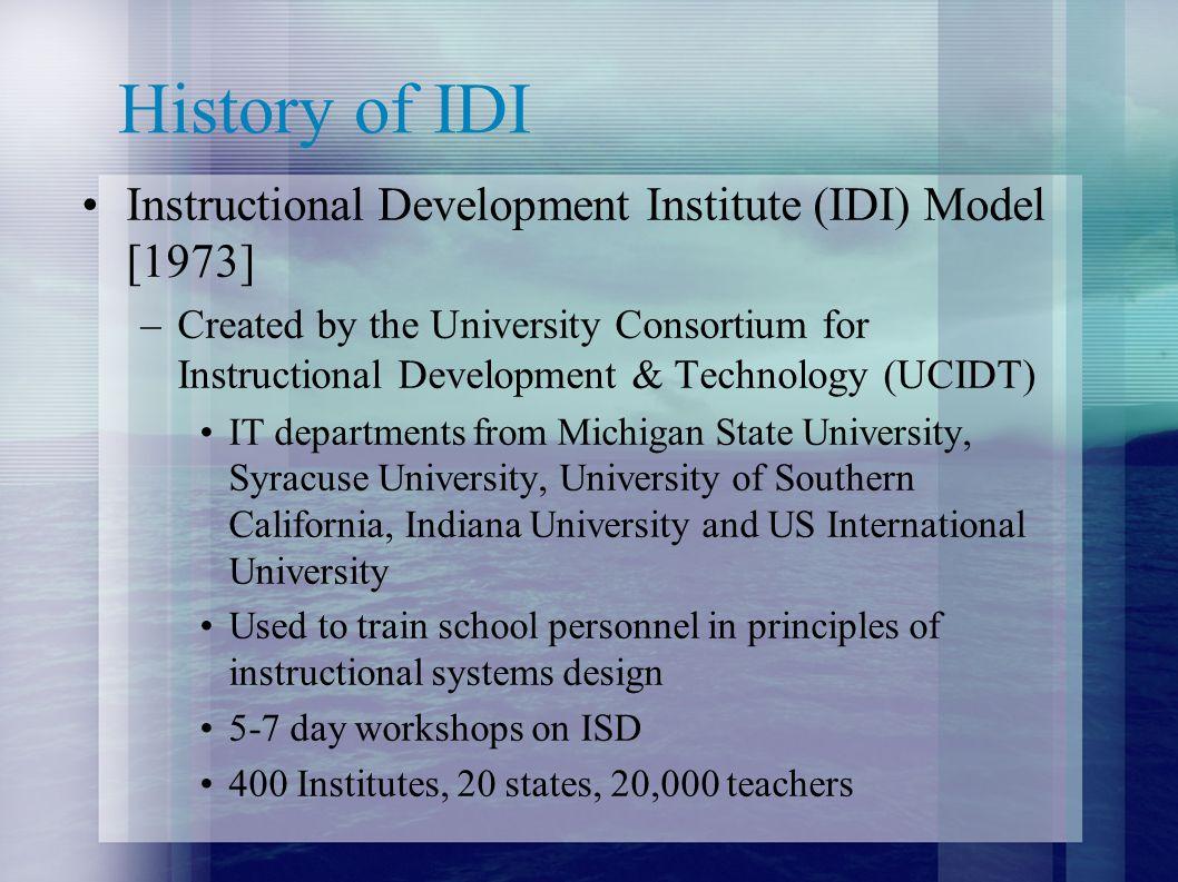 History of IDI Instructional Development Institute (IDI) Model [1973]